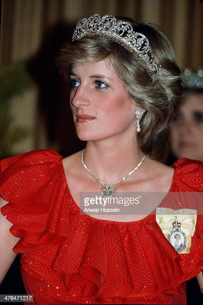 Diana Princess of Wales wearing the Spencer Tiara and the Royal Family Order of the Queen and the Prince of Wales feathers diamond necklace attends a...