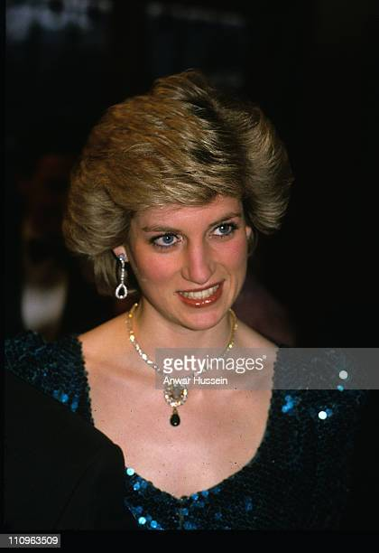 Diana Princess of Wales in Vienna 1986 Camilla Duchess of Cornwall wore a brooch made from the necklace to the film premiere of 'The History Boys' on...