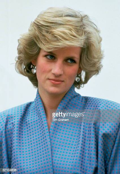 Diana Princess Of Wales Wearing A Silk Suit Designed By Fashion Designer Bruce Oldfield During An Official Overseas Visit Diana's Crystal Heart...