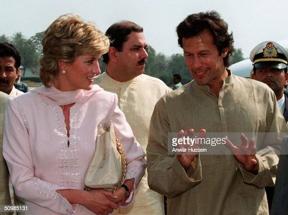 The Princess of Wales arriving with former cricket star Imran Khan at Lahore airport April 1996 in Lahore Pakistan Imran Khan and Jemima Khan have...