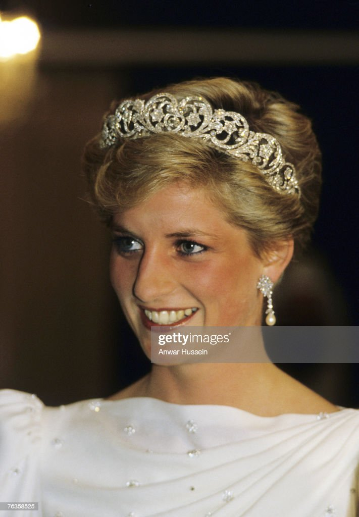 Diana, Princess of Wales looks radiant in a tiara during a visit to Bahrain in November 1986.