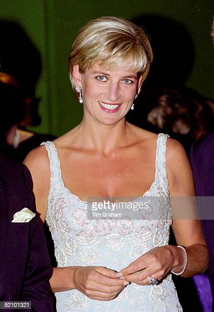 Diana Princess Of Wales Wearing An Embroidered Cocktail Dress Designed By Fashion Designer Catherine Walker At The Private Viewing And Reception At...