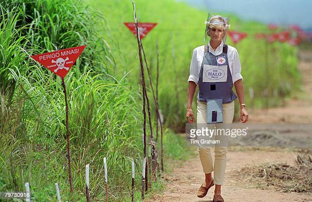 Diana Princess of Wales wearing protective body armour and a visor visits a landmine minefield being cleared by the charity Halo in Huambo Angola