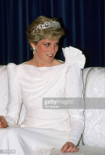 Diana Princess of Wales wearing the Spencer Tiara and a dress designed by the Emanuels at a State Banquet in Bahrain