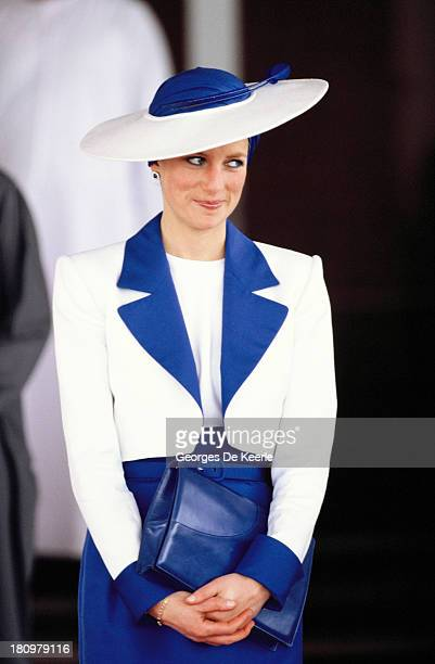 Diana Princess of Wales wears a Catherine Walker suit and a Philip Somerville turban hat during her official tour of the Gulf States on March 17 1989...