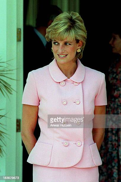 Diana Princess of Wales wears a pink Versace suit during an official visit to Argentina on November 24 1995 in Buenos Aires Argentina