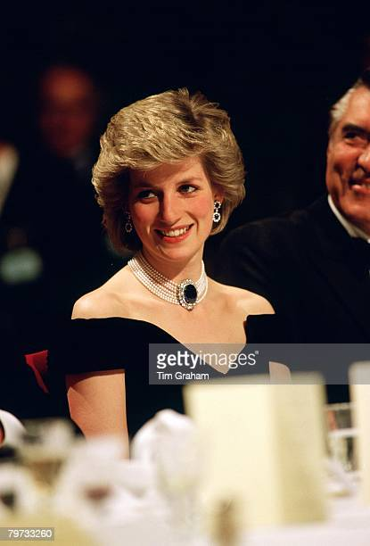 Diana Princess of Wales wears a sapphire diamond and pearl choker to a banquet in Vienna