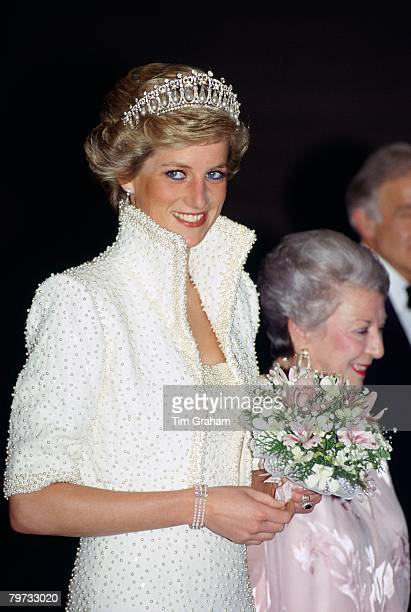 Diana Princess of Wales wears an outfit described as the 'Elvis dress' designed by Catherine Walker to the Culture Centre in Hong Kong