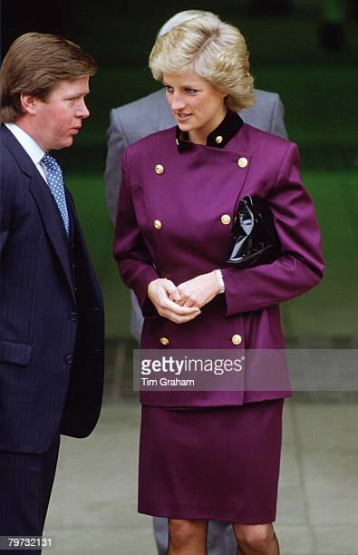 Diana Princess of Wales with bodyguard Ken Wharfe in St Albans