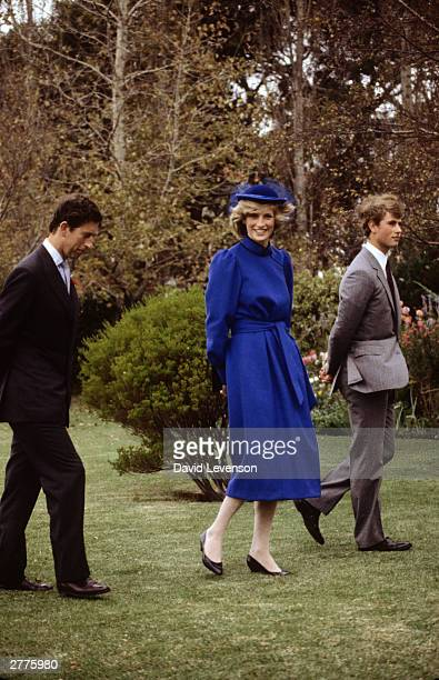 Diana Princess of Wales with Charles Prince of Wales and Prince Edward The couple were visiting Prince Edward at the Wanganui Collegiate where Prince...