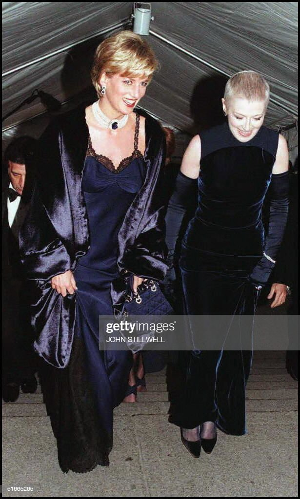 Diana Princess of Wales (left) with her close friend, Liz Tilberis arrive at the Metropolitan Museum of Art, in New York for the Costume Institute Ball this Evening.