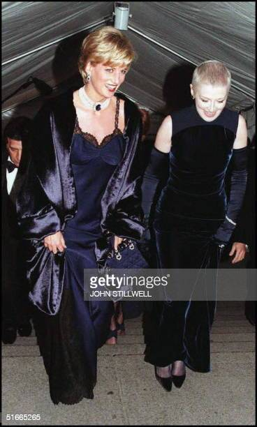 Diana Princess of Wales with her close friend Liz Tilberis arrive at the Metropolitan Museum of Art in New York for the Costume Institute Ball this...