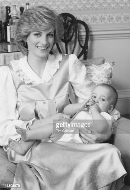 Diana Princess of Wales with her son Prince William at Kensington Palace in London 1st February 1983