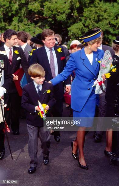 Diana Princess Of Wales With Her Son Prince William Celebrating St David's Day On 1st March By Attending A Service At Llandaff Cathedral Behind The...