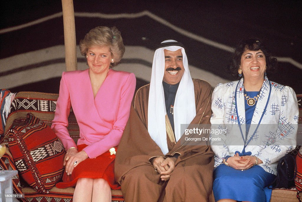Diana Princess of Wales with Jaber III alAhmad alJaber alSabah of Kuwait at the Islamic Museum during her official tour of the Gulf States on March...