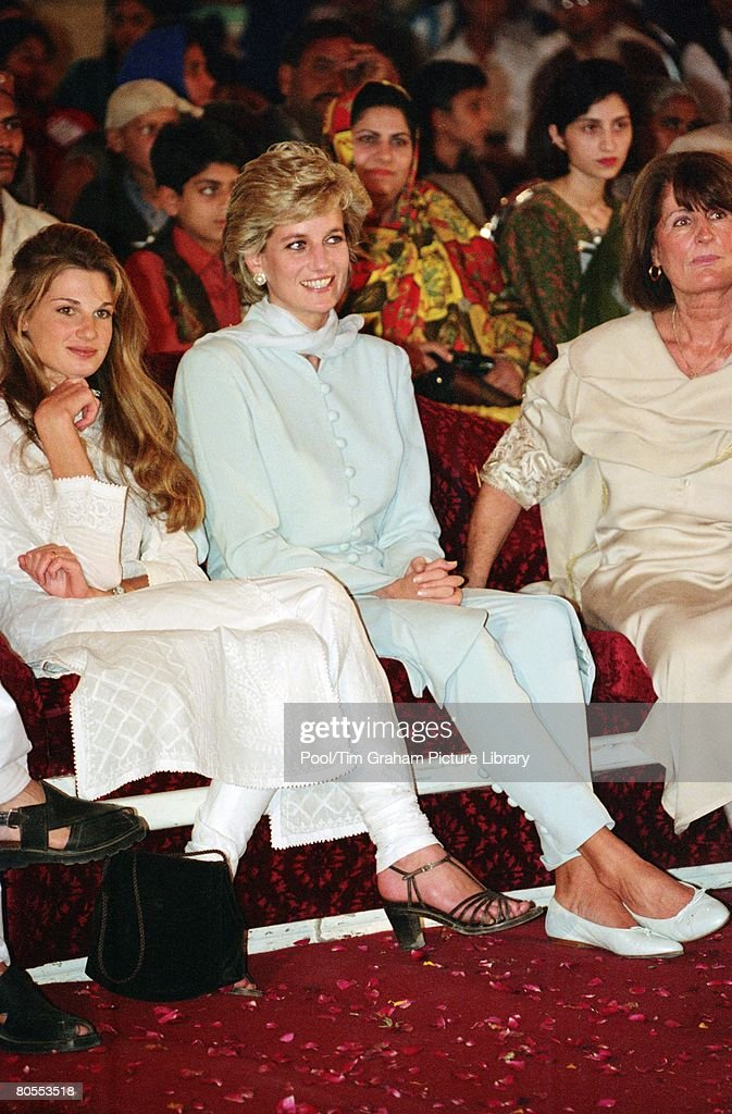 Diana, Princess of Wales with Jemima Khan and Annabel Goldsmith at the Shaukat Khanum Memorial Hospital, Lahore, Pakistan
