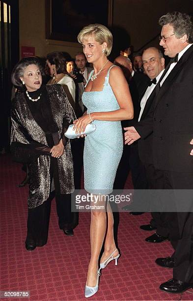 Diana Princess Of Wales With Lady Pamela Harlech Attends The Royal Gala Performance Of'swan Lake' At The Royal Albert Hall Wearing Dress By Fashion...