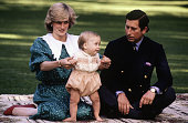 Diana Princess of Wales with Prince Charles and Prince William posing for a photocall on the lawn of Government House in Auckland New Zealand on...