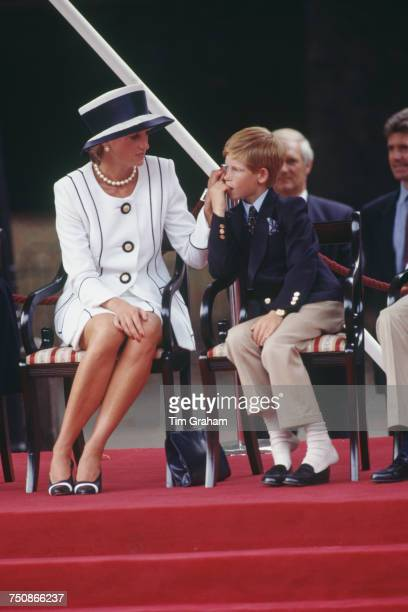 Diana Princess of Wales with Prince Harry at a parade to commemorate the 50th anniversary of VJ Day The Mall London 19th August 1995