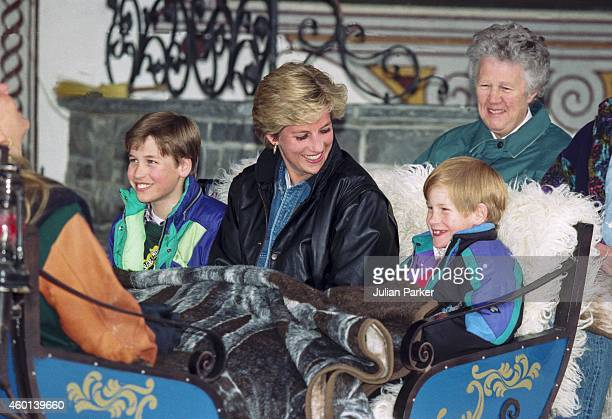 Diana Princess of Wales with Prince William and Prince Harry and their Nanny Olga Powell take an afternoon carriage ride during their annual ski...