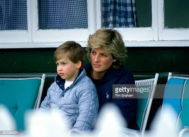 Diana Princess Of Wales With Prince William Sitting On Her Knee As They Watch Polo At Guards Polo Club