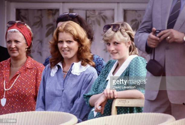 Diana Princess of Wales with Sarah Ferguson watches Prince Charles playing polo at Guards Polo Club on Smiths Lawn in June 1982 in Windsor Berkshire