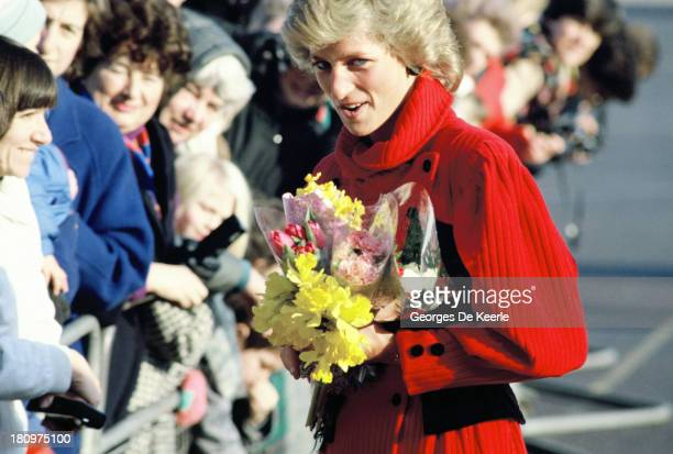 Diana Princess of Wales with the crowd on January 18 1989 in London England