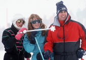 Diana Princess Of Wales With The Duchess Of York And Prince Andrew During A Photocall On A The Skiing Holidayin Klosters Switzerland