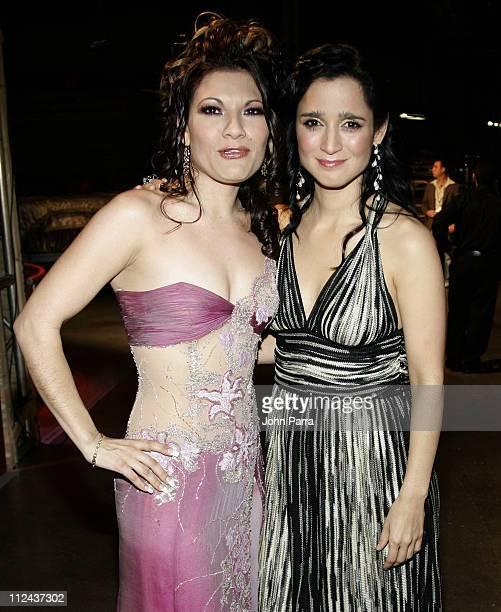Diana Reyes and Julieta Venegas during Premio Lo Nuestro a la Musica Latina 2007 Backstage at American Airlines Arena in Miami Florida United States