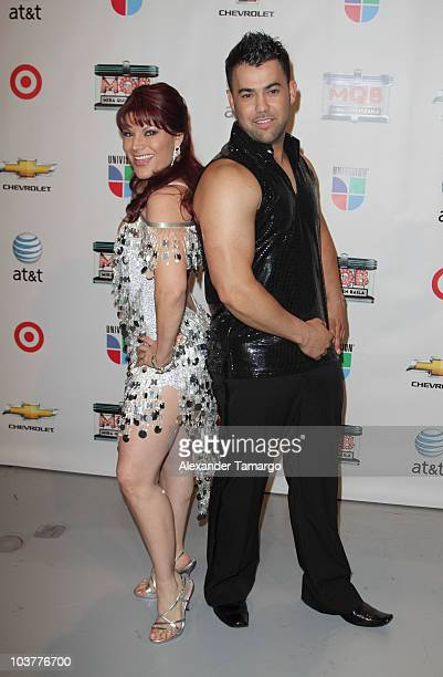 Diana Reyes and Rogelio Martinez attend Univision 'Mira Quien Baile' press event at Univision headquarters on September 1 2010 in Miami Florida
