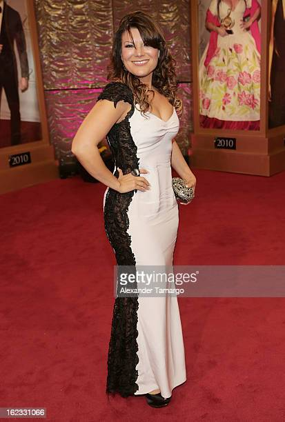 Diana Reyes arrives at the 25th anniversary of Univision's Premio lo Nuestro a la Musica Latina at the AmericanAirlines Arena on February 21 2013 in...