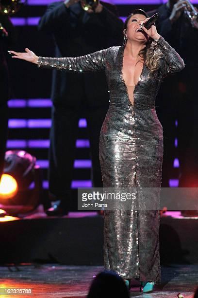 Diana Reyes performs onstage at the 25th Anniversary of Univision's 'Premio Lo Nuestro A La Musica Latina' on February 21 2013 in Miami Florida
