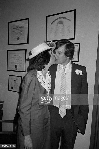 Diana Rigg with her husband Archie Stirling at City Hall on their wedding day 1982 circa 1960 New York