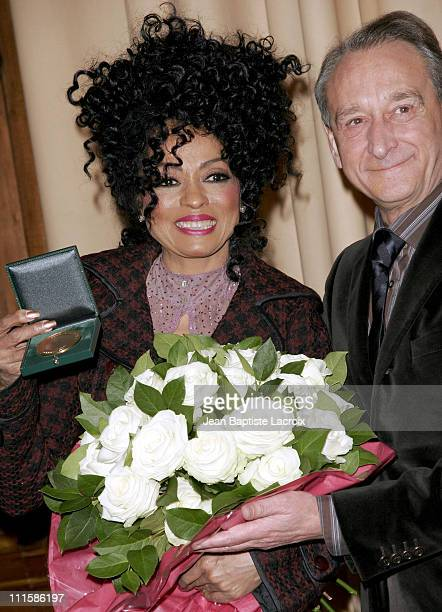 Diana Ross and Bertrand Delanoe Mayor of Paris during Diana Ross Receives the Grand Medal of Vermeil from the City of Paris at Hotel de Ville in Paris