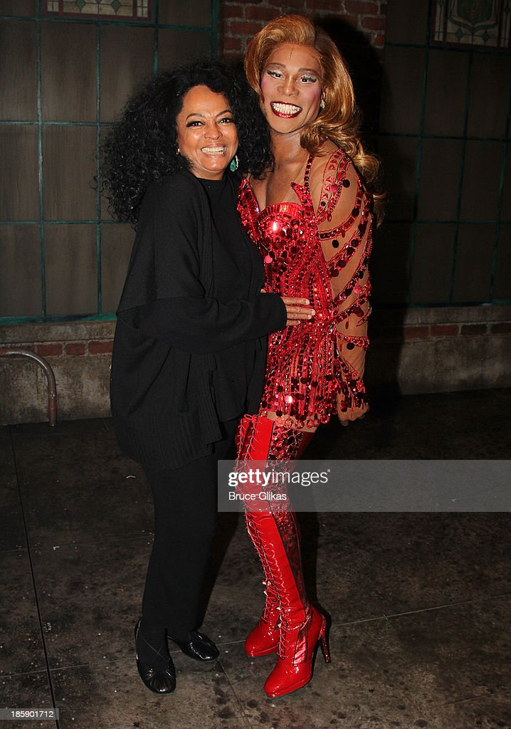 Diana Ross and Billy Porter as 'Lola' pose backstage at 'Kinky Boots' on Broadway at The Al Hirshfeld Theater on October 25, 2013 in New York City.