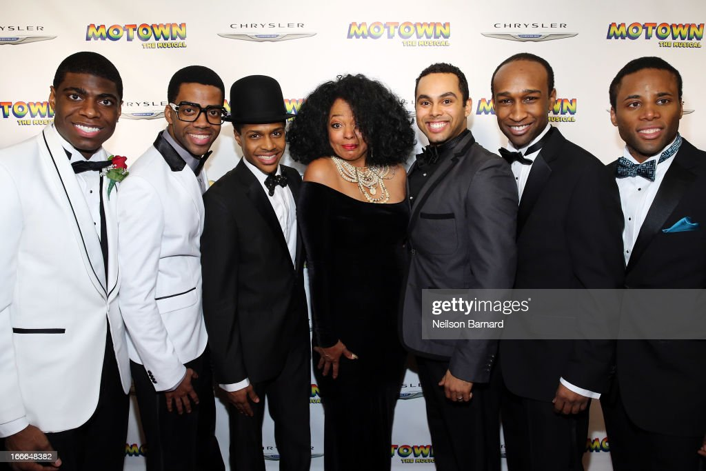 Diana Ross (C) and cast members attend the after party for the Broadway opening night for 'Motown: The Musical' at Roseland Ballroom on April 14, 2013 in New York City.
