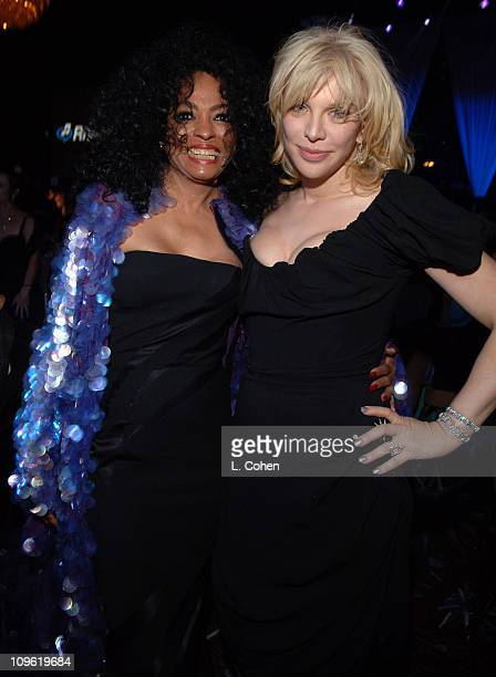 Diana Ross and Courtney Love during 2006 Clive Davis PreGRAMMY Awards Party Cocktail Reception and Dinner at Beverly Hilton in Beverly Hills...