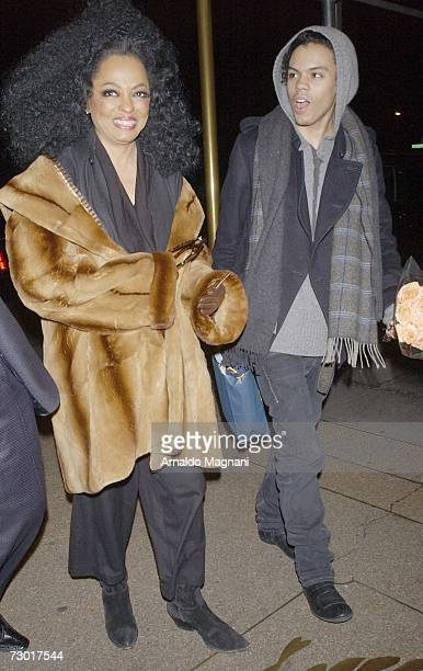 Diana Ross and her son Evan arrive at a midtown restaurant January 16 2007 in New York City