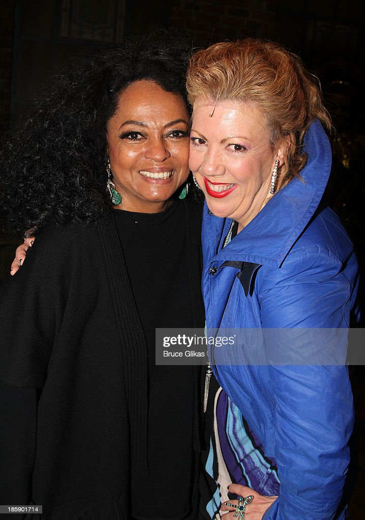Diana Ross and Jennifer Perry pose backstage at 'Kinky Boots' on Broadway at The Al Hirshfeld Theater on October 25, 2013 in New York City.