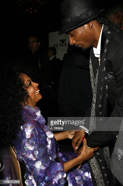 Diana Ross and Snoop Dogg during 2006 Clive Davis PreGRAMMY Awards Party Cocktail Reception and Dinner at Beverly Hilton in Beverly Hills California...