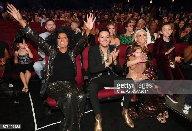 Diana Ross Evan Ross and Ashlee Simpson during the 2017 American Music Awards at Microsoft Theater on November 19 2017 in Los Angeles California