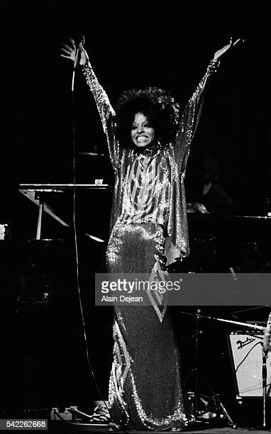 Diana Ross performs on stage at the Theatre des Champs Elysees in Paris to promote the release of her 1972 film Lady Sings the Blues
