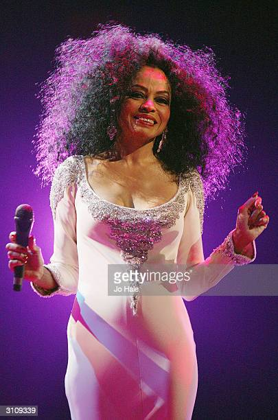 Diana Ross performs on stage during the last night of her UK tour at Wembley Arena on March 18 2004 in London England