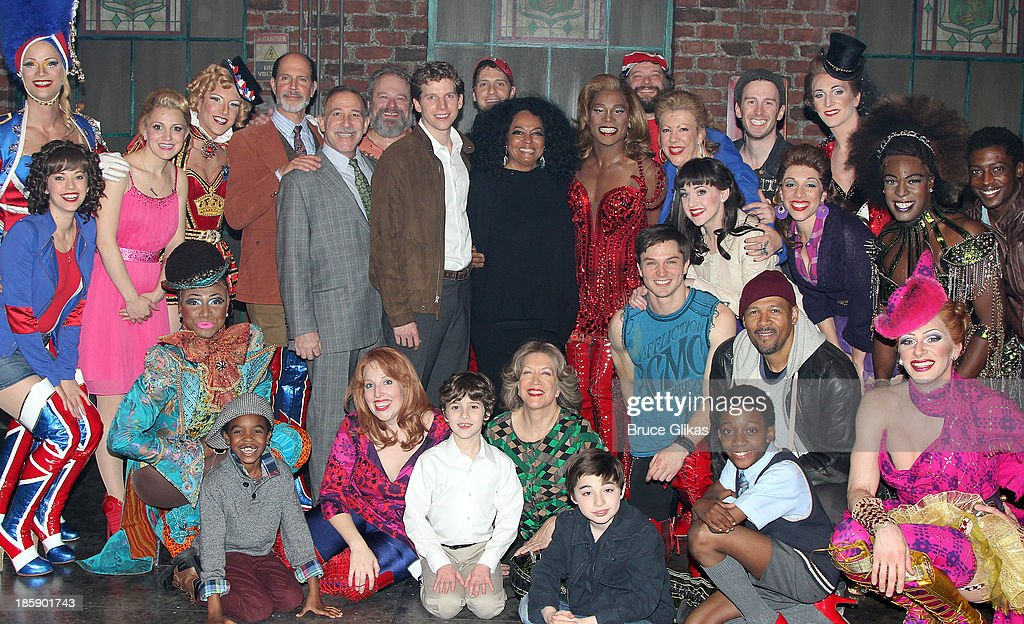 <a gi-track='captionPersonalityLinkClicked' href=/galleries/search?phrase=Diana+Ross&family=editorial&specificpeople=202836 ng-click='$event.stopPropagation()'>Diana Ross</a> poses with the cast backstage at 'Kinky Boots' on Broadway at The Al Hirshfeld Theater on October 25, 2013 in New York City.