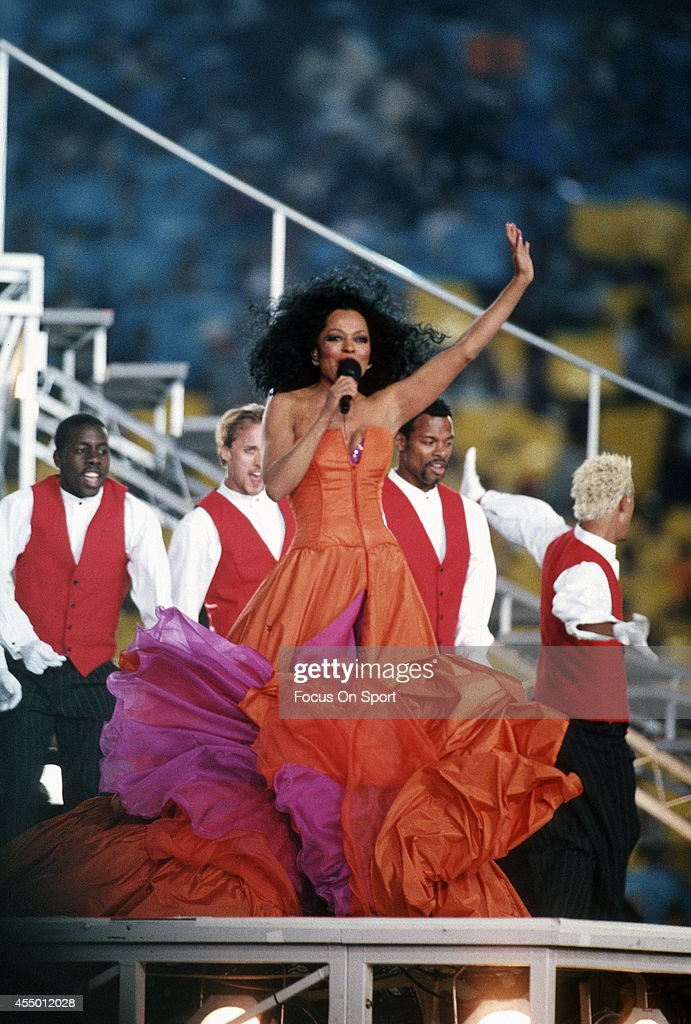 Diana Ross preforms during haft time of Super Bowl XXX between the Dallas Cowboys and Pittsburgh Steelers on January 28, 1996 at Sun Devil Stadium in Tempe, Arizona. The Cowboys won the Super Bowl 27-17.