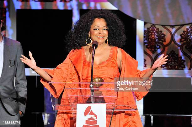Diana Ross recieves her award at the 54th Annual Grammy Special Merit Awards at The Wilshire Ebell Theatre on February 11 2012 in Los Angeles...