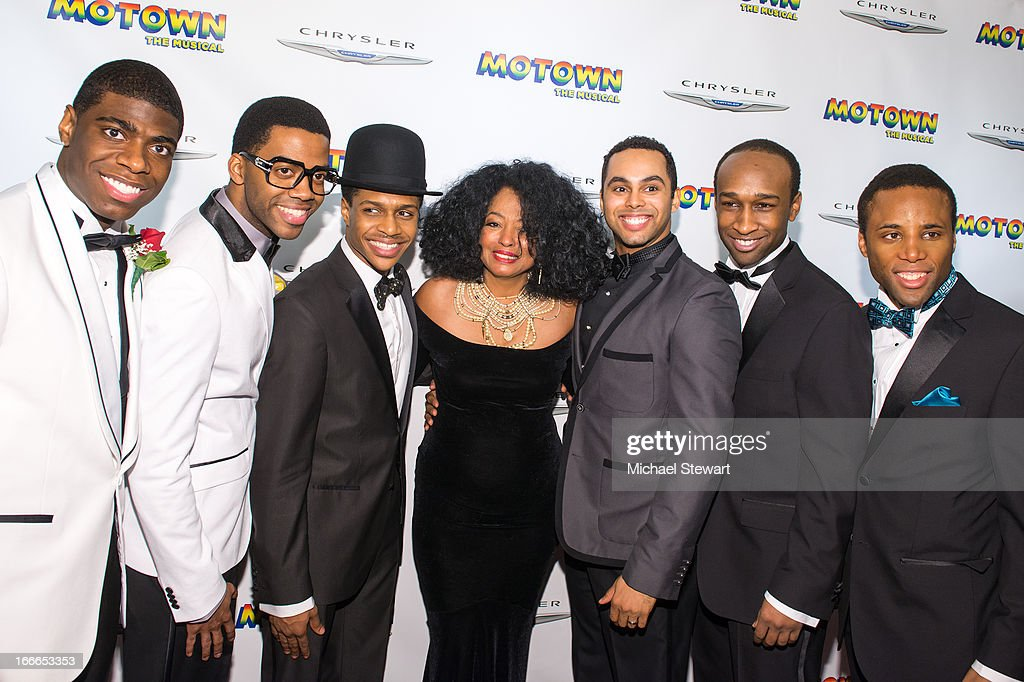 Diana Ross with actors attend the after party for the Broadway opening night for 'Motown The Musical' at Roseland Ballroom on April 14 2013 in New...