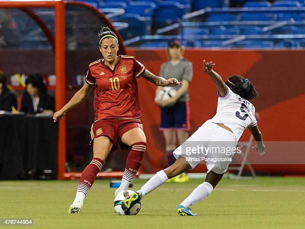 Diana Saenz of Costa Rica challenges Jennifer Hermoso of Spain during the 2015 FIFA Women's World Cup Group E match at Olympic Stadium on June 9 2015...