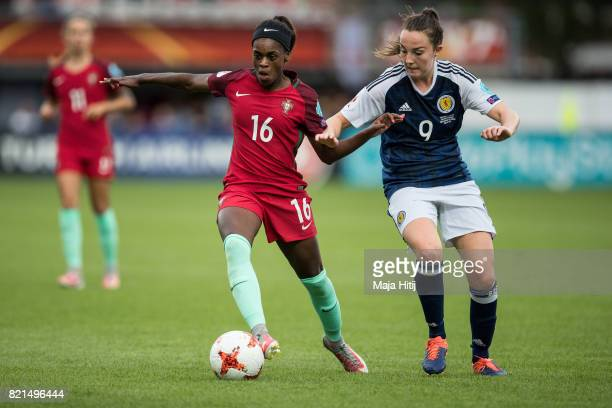 Diana Silva of Portugal and Caroline Weir of Scotland battle for the ball during the UEFA Women's Euro 2017 Group D match between Scotland v Portugal...