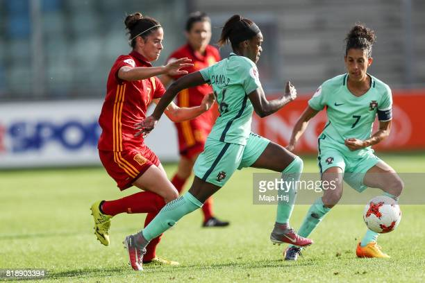 Diana Silva of Portugal and Marta Torrejon of Spain battle for the ball during the Group D match between Spain and Portugal during the UEFA Women's...